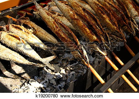 Stock Photography of Grilled fish (Steckerlfisch) at the Munich.