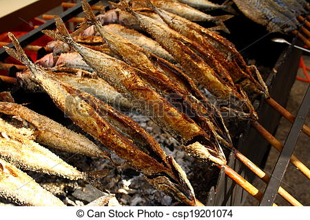 Picture of Grilled fish (Steckerlfisch) in Munich Oktoberfest.