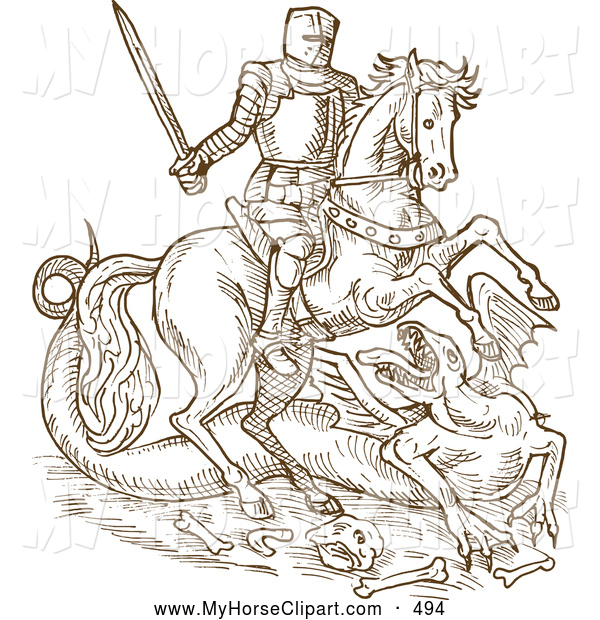 Clip Art of a Strong Brown Sketched Knight on His Steed, Battling.