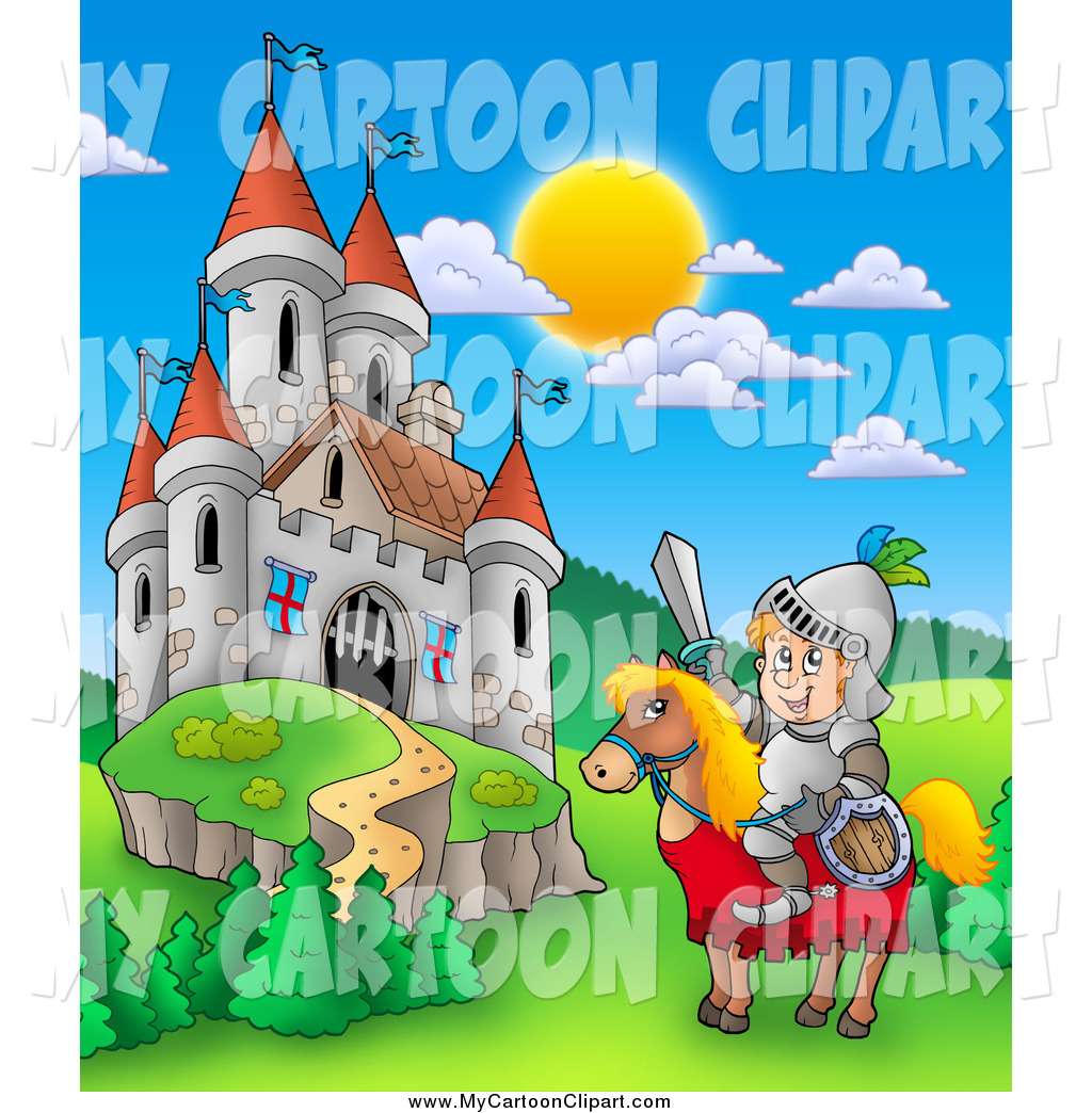 Clip Art of a Knight on a Steed near a Fantasy Castle by visekart.