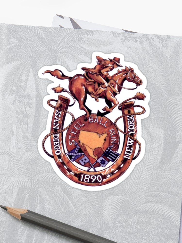 \'steel ball run race logo\' Sticker by idkduwang.