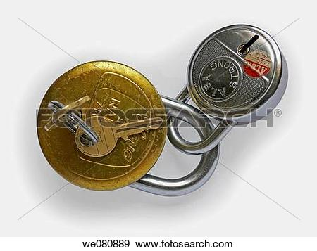 Stock Photograph of Two locks made of steel and brass are.