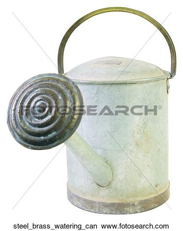 Stock Photo of Steel brass watering can steel_brass_watering_can.