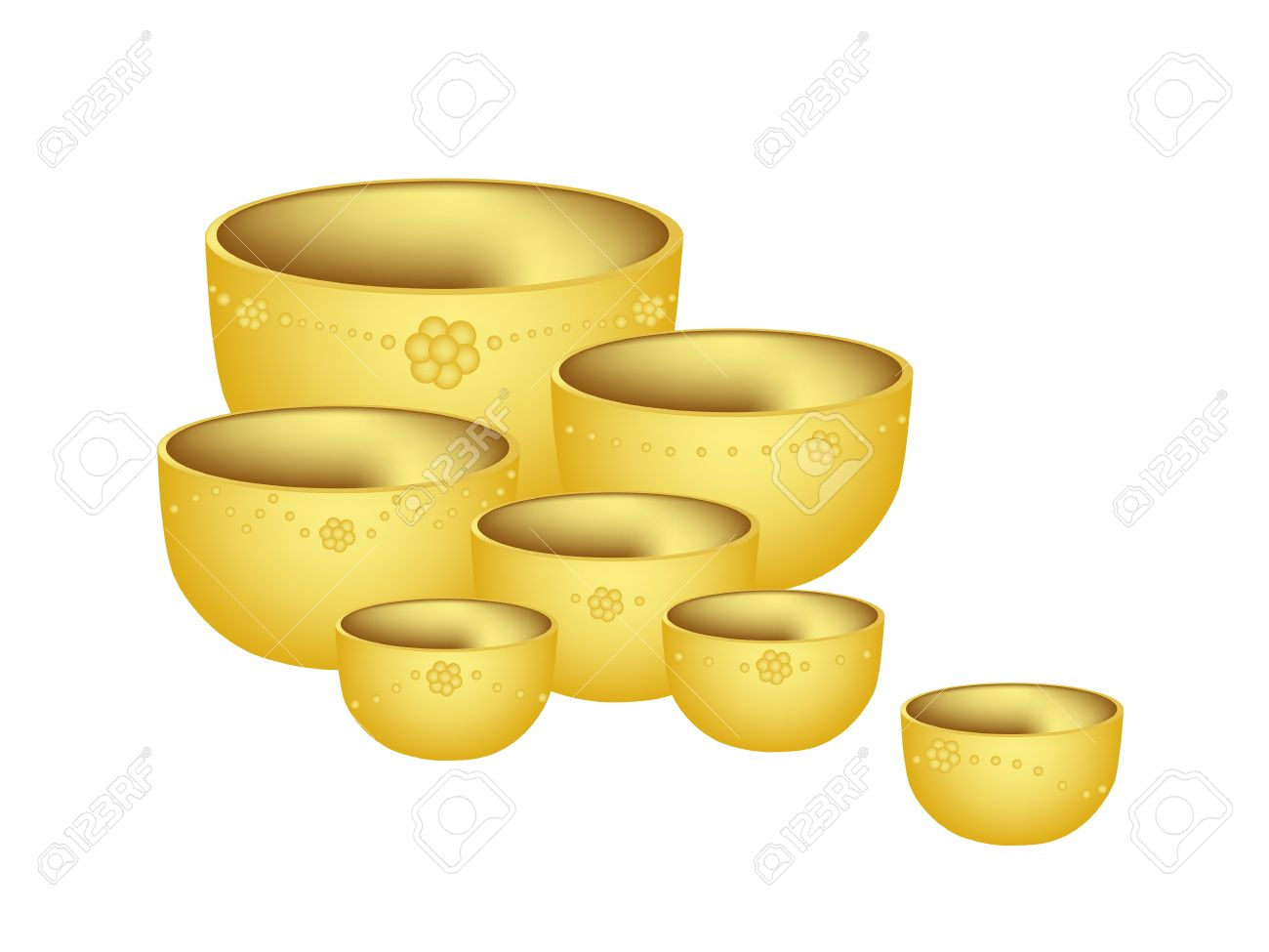 Illustration Various Size Of Golden Empty Bowls Isoleted On White.