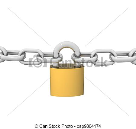 Clip Art of 3d steel chain with a brass lock and key csp9804172.