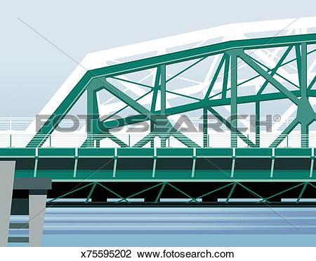 Clip Art of Steel bridge x75595202.