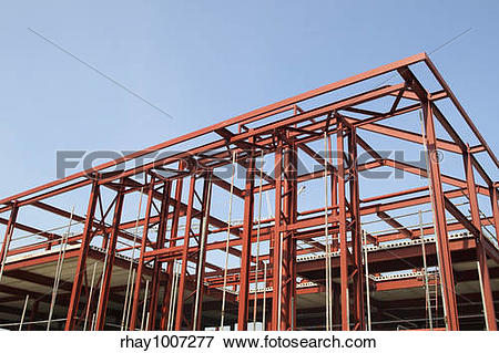 Picture of Red steel building construction framework. rhay1007277.