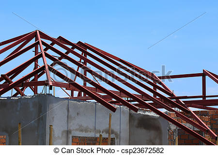 Pictures of steel beam on roof building construction house.