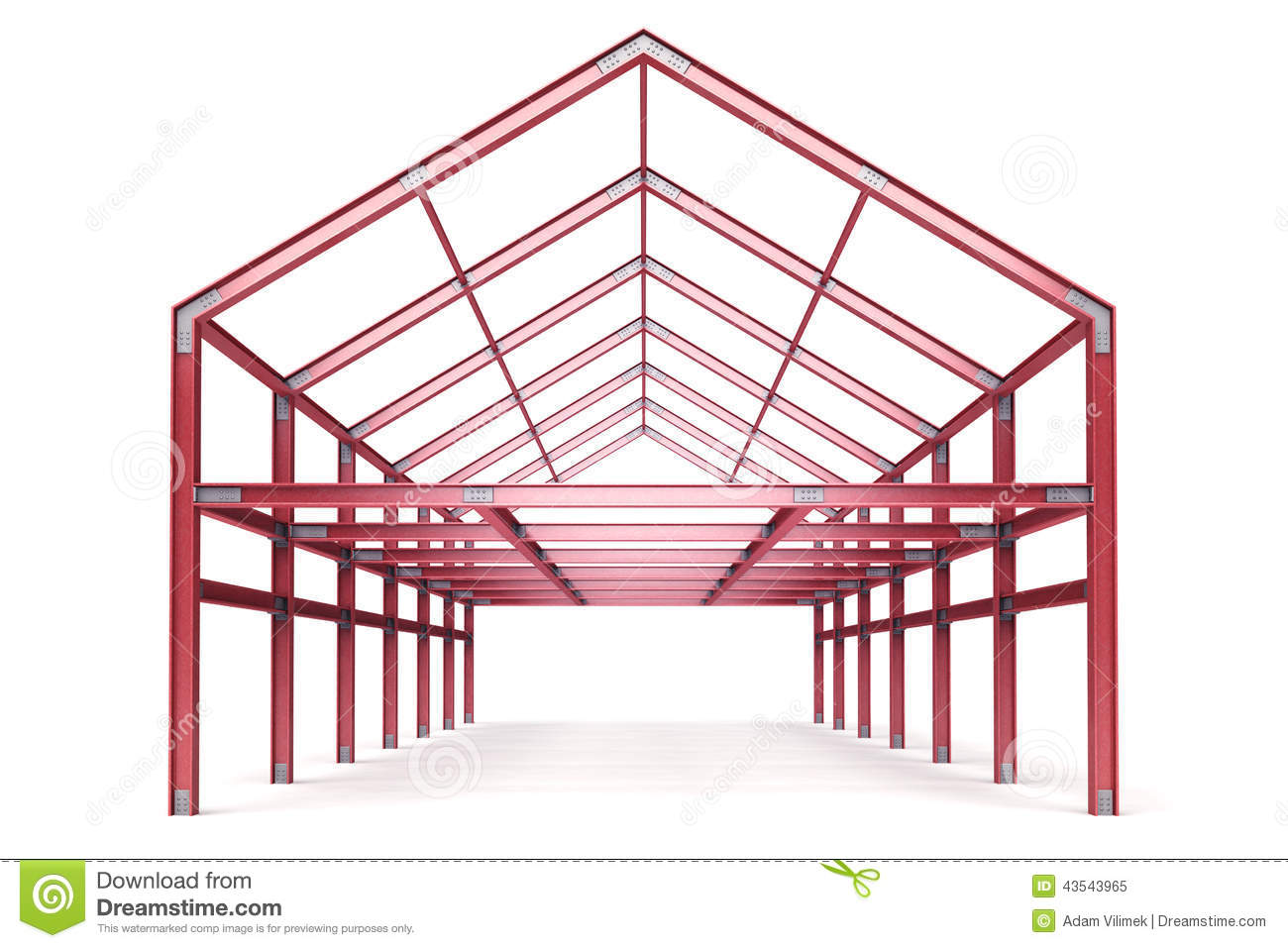 Red Steel Framework Building Front Perspective View Stock.