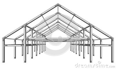 Steel Frame Wide Building Project Scheme Isolated On White Stock.