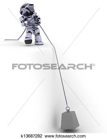Clip Art of Robot Pulling a weight on a Steel Cable k13687282.
