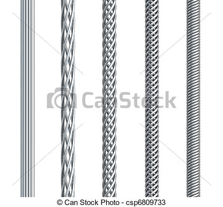 Drawings of set of seamless steel cable, isolated 3d render.