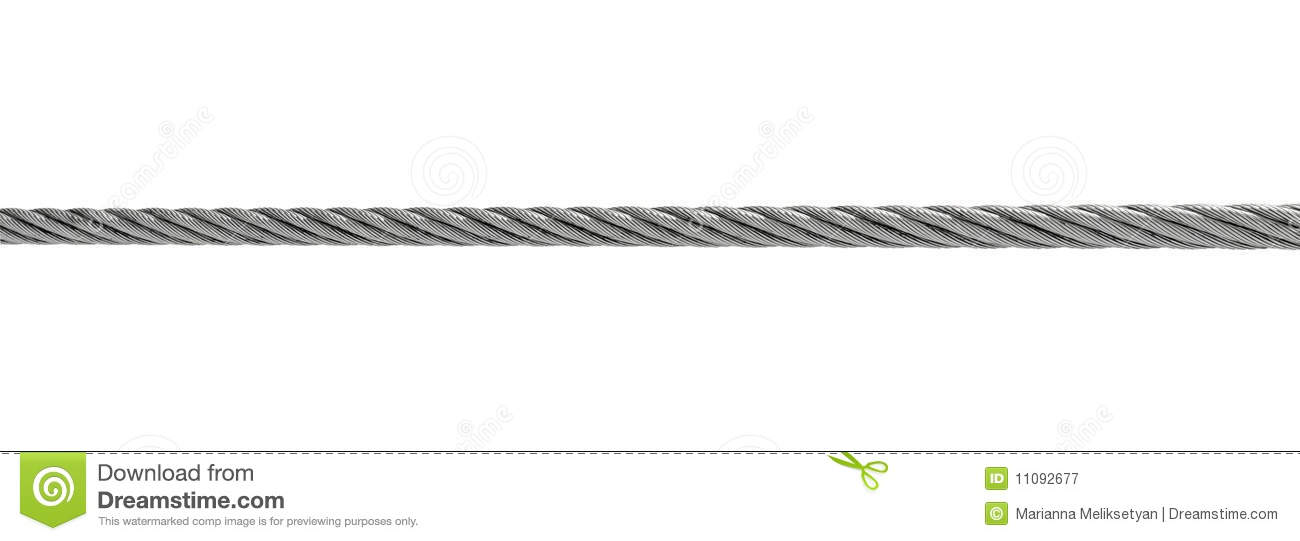Steel Cable Isolated On White Royalty Free Stock Photography.