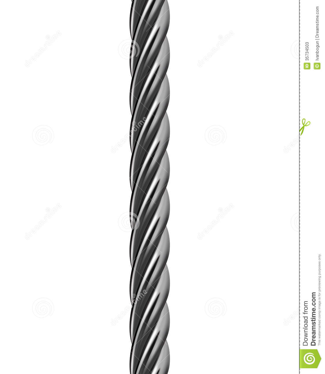 Metal Cable Isolated. Vector Illustration Stock Photos.