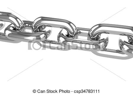 Clipart of render stainless steel chain.
