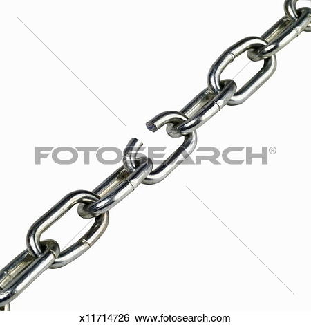 Stock Images of Close up of a steel chain with broken link.