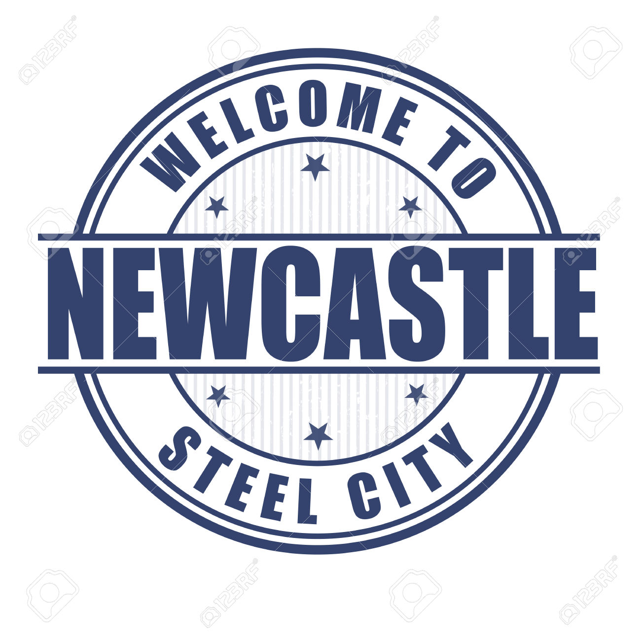 Welcome To Newcastle, Steel City Grunge Rubber Stamp On White.