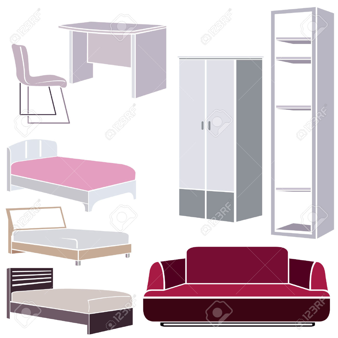Interior Design Icons, Furniture Set Royalty Free Cliparts.