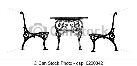 EPS Vector of steel garden table and chairs.