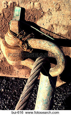 Stock Images of Metal Cable Anchored to Steel Loop bui.