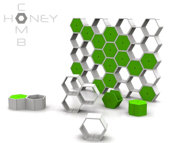 Honeycomb modular furniture system takes the hexagonal shape to.