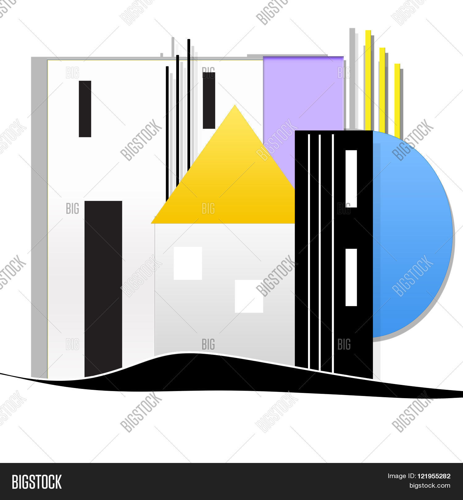 white background with modular system and house Stock Photo & Stock.