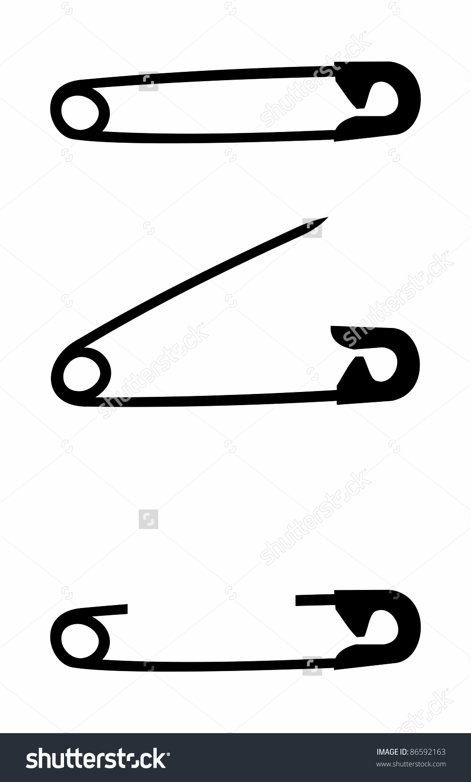 Set Safety Pin Isolated Background Vector Stock Vector 86592163.