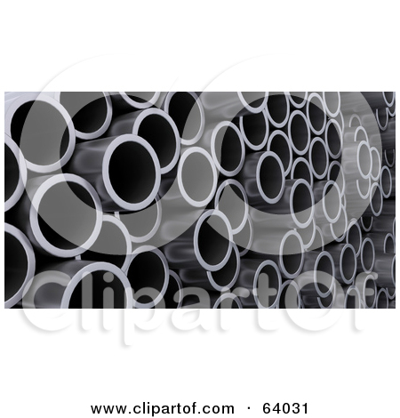 Clipart Illustration of a Closeup of Steel Construction Pipes by.