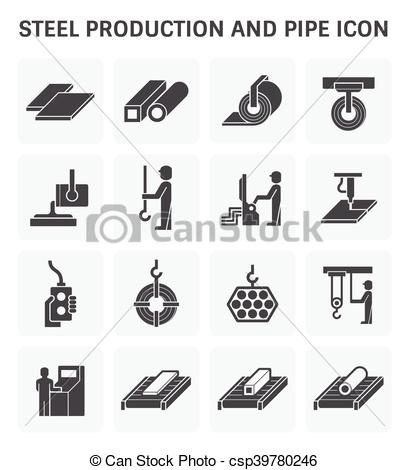 EPS Vector of Pipe production icon.