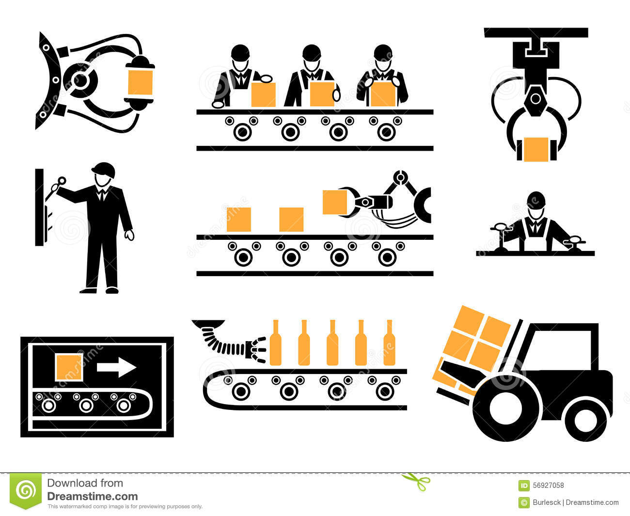 Manufacturing Process Or Production Icons Set Stock Vector.