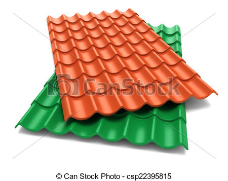 Clipart of Shingles roof sheets isolate on white background.