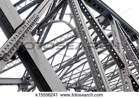 Stock Photography of Support above the bridge, steel structure.