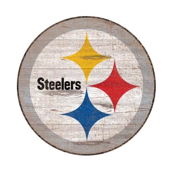 NFL Indoor Pittsburgh Steelers Distressed Logo Cutout Wood Sign.