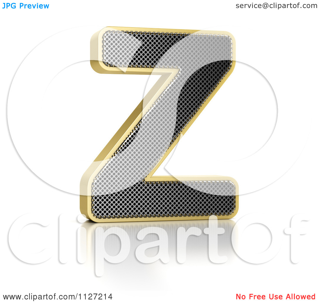 Clipart Of A 3d Gold Rimmed Perforated Metal Letter Z.