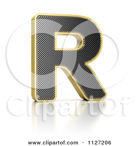 Clipart Of A 3d Gold Rimmed Perforated Metal Letter R.