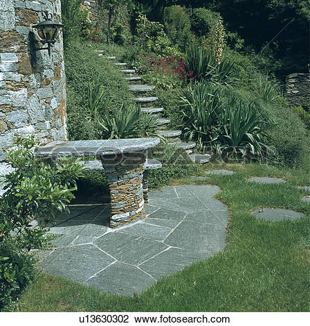 Stock Photo of Stone steps in steep country garden in summer.