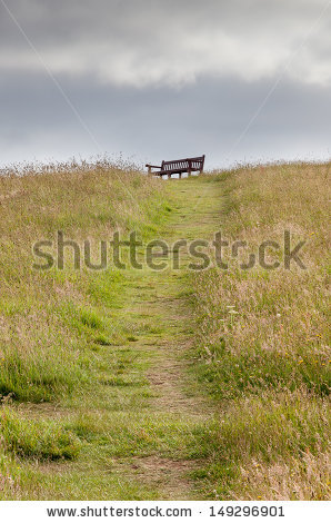 Lonely Bench Pathway Stock Photos, Royalty.
