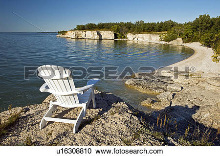 Stock Photography of chair along limestone cliffs, Steep Rock.