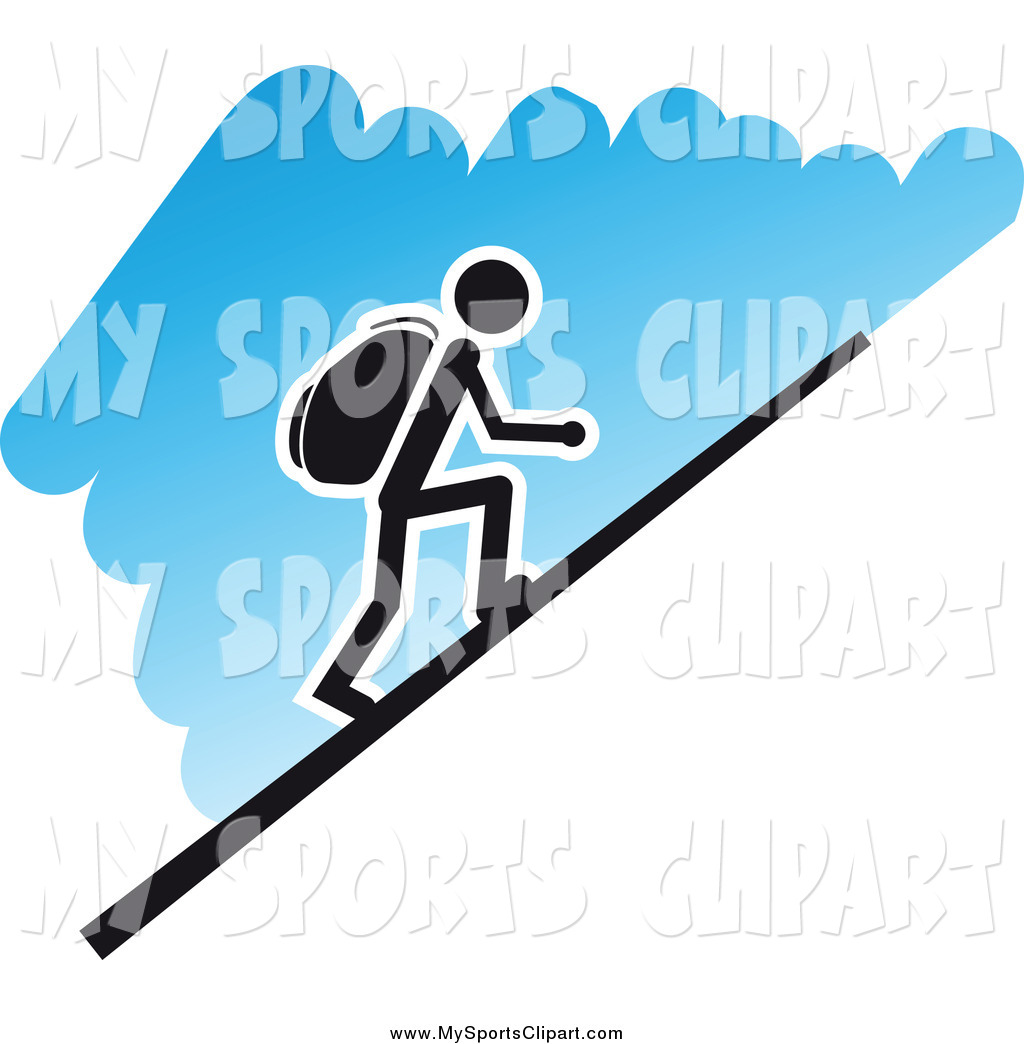 Sports Clip Art of a Hiker Going up a Steep Hill, over Blue by.