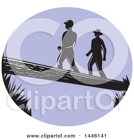 Clipart of a Retro Woodcut Scene of Male Hikers Climbing a Steep.