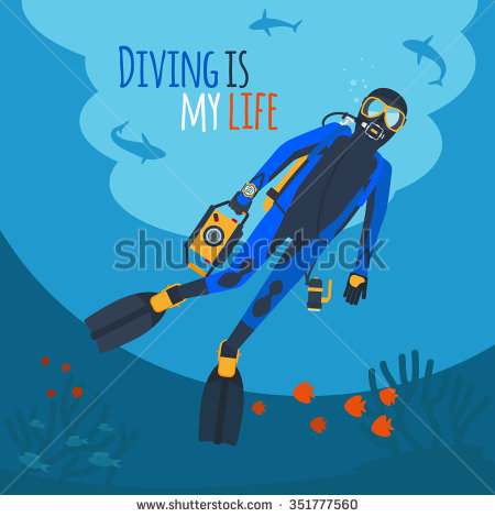 Diving Illustration Diver Underwater Diver Surrounded Stock Vector.