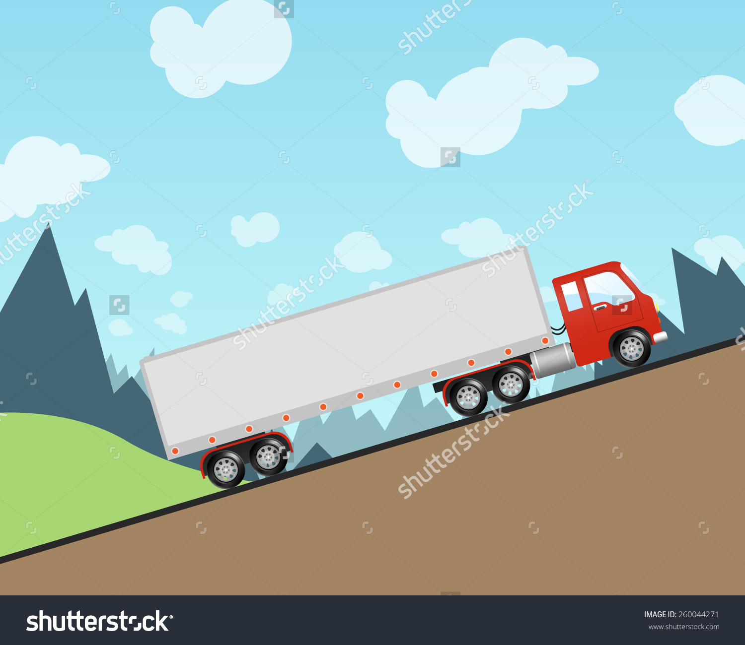 Semi Truck Driving Steep Hill Stock Vector 260044271.