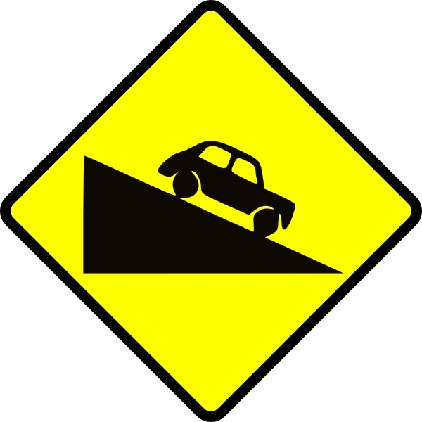 Caution Steep Hill clip art Free vector in Open office drawing svg.