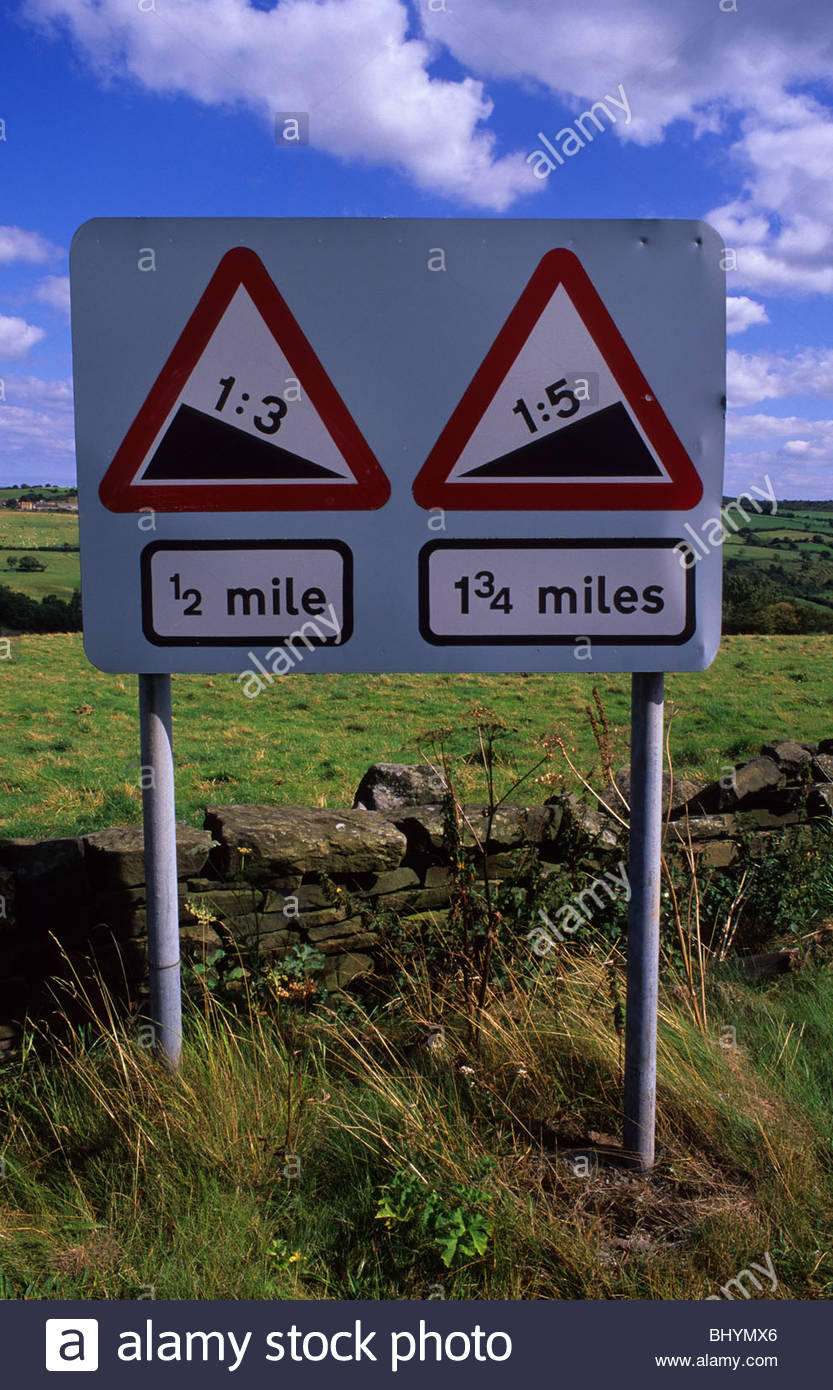 Warning Signs Of Steep Hill Down And Steep Hill Upwards On Road.