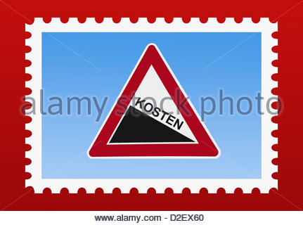 "Detail Photo Of A Stamp. The Stamp Shows A Danger Sign ""steep Hill."