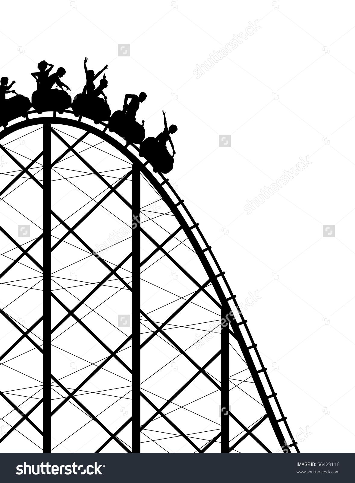 Editable Vector Silhouette Steep Rollercoaster Ride Stock Vector.