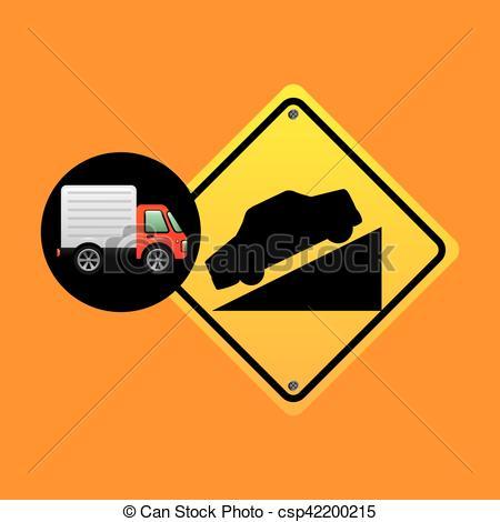 Vector Clip Art of steep traffic sign concept vector illustration.