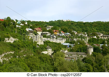 Stock Images of Steep slope in Kamianets.