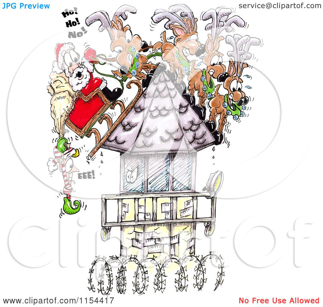 Clipart of an Elf Hanging off of Santas Sleigh on a Steep Prison.