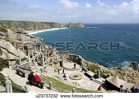Stock Photo of England, Cornwall, Porthcurno, A view down over the.